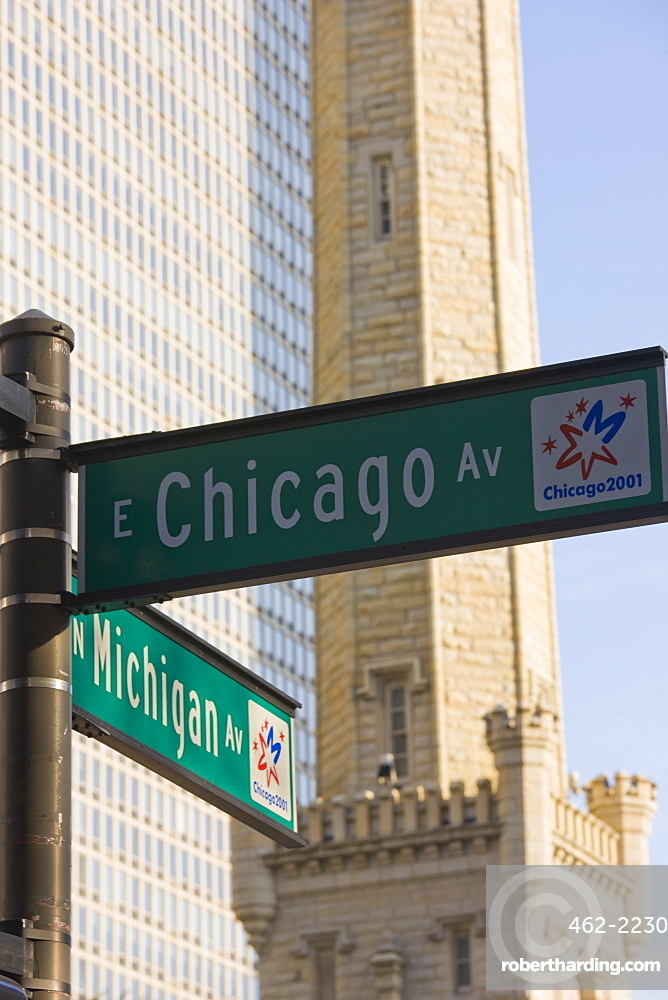 Chicago and Michigan Avenue signposts with the Historic Water Tower behind, Chicago, Illinois, United States of America, North America