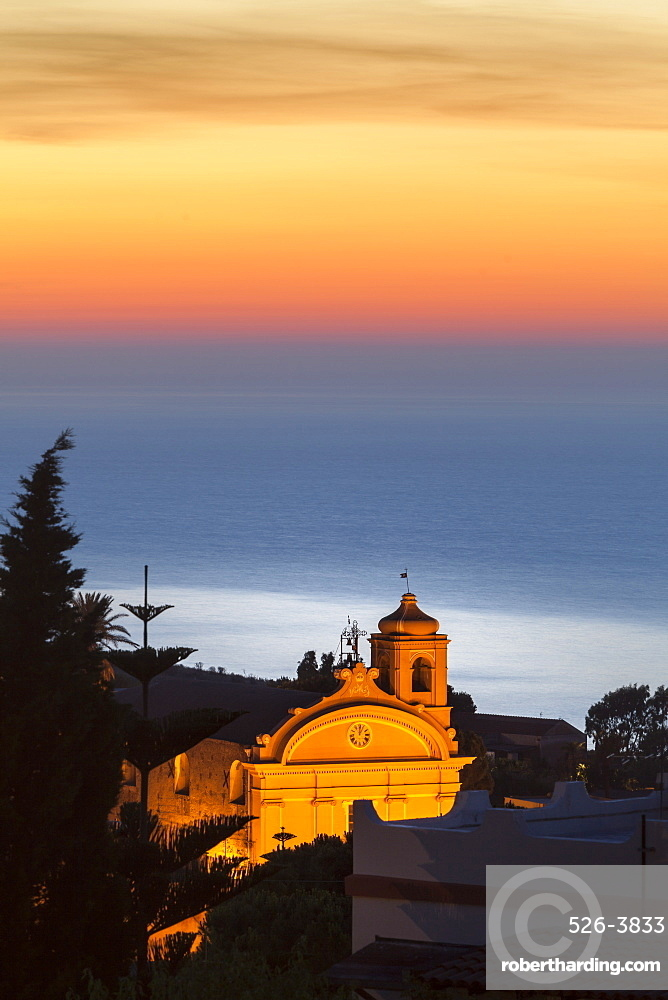 Malfa, church at dusk with sea behind, Sicily, Italy, Mediterranean, Europe