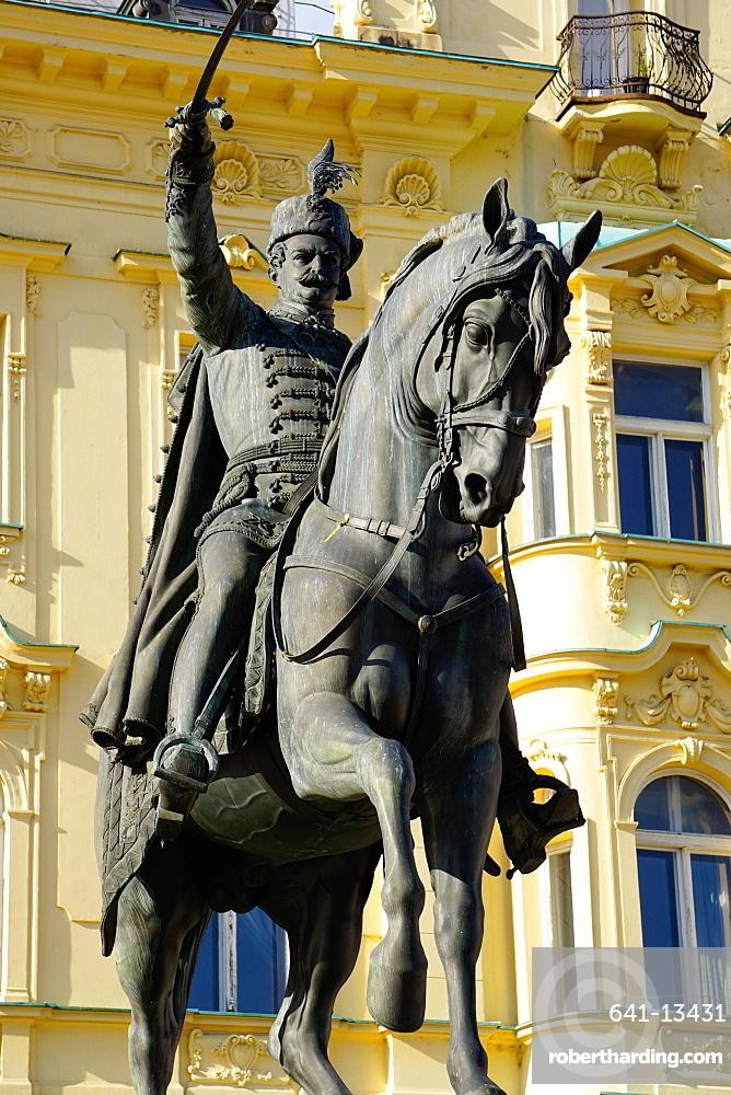 Ban Jelacic monument on Ban Jelacic Square, Zagreb, Croatia, Europe