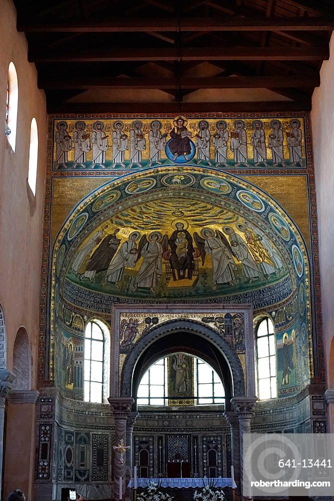 Ciborium from the 12th century in front of an apse mosaic from the 6th century, Euphrasian Basilica, UNESCO World Heritage Site, Porec, Istra Peninsula, Croatia, Europe