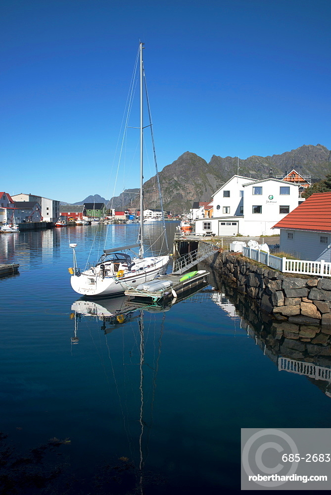 View of Henningsvaer Harbour, Lofoten Islands, Nordland, Norway, Scandinavia, Europe