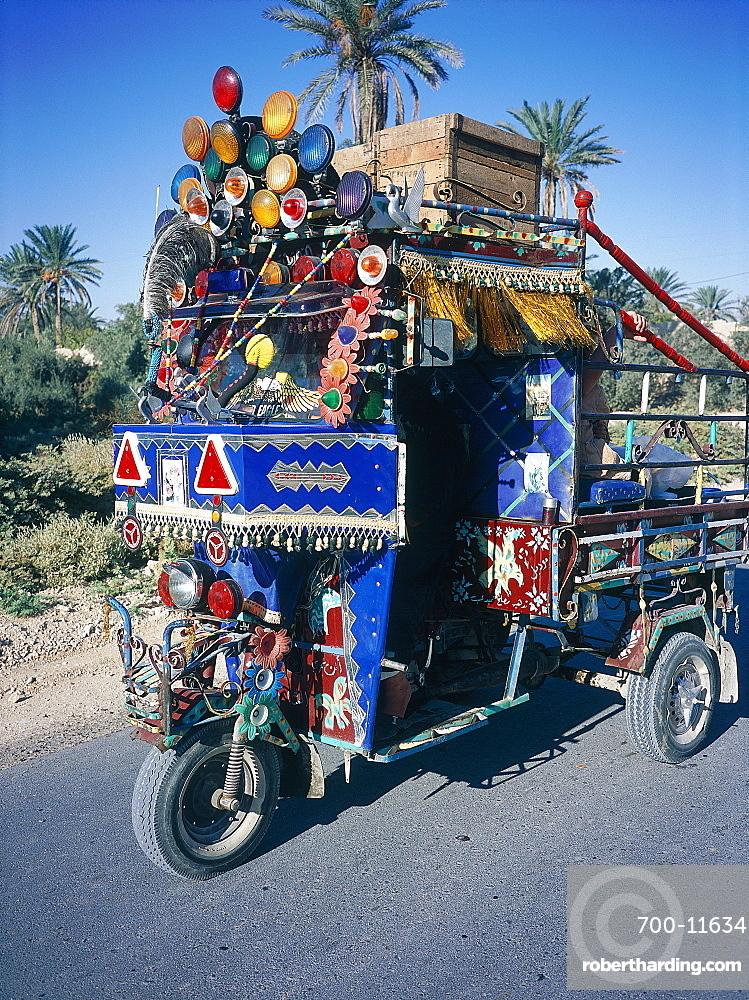Syria, Palmyra Oasis, A Cusmotized Local Three Wheeled Vehicle