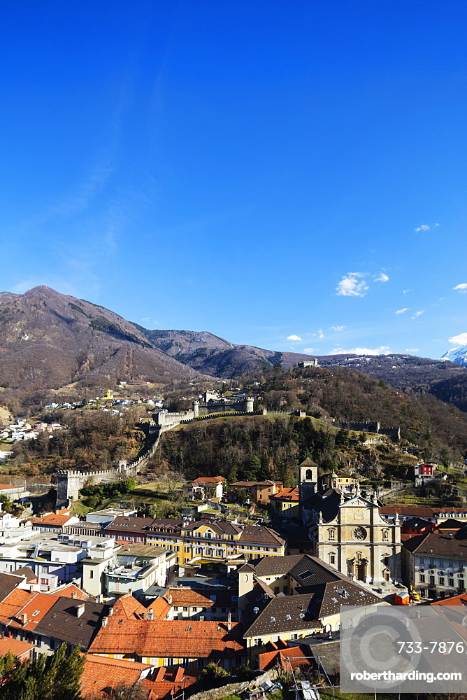 Castelgrande and La Collegiata church of St. Peter and Stephan, UNESCO World Heritage Site, Bellinzona, Ticino, Switzerland, Europe