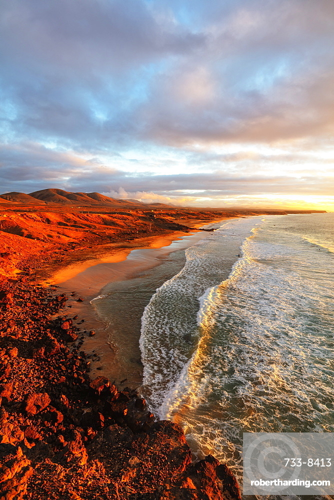 Europe, Spain, Canary Islands, Fuerteventura, El Cotillo coastal scenery at sunset