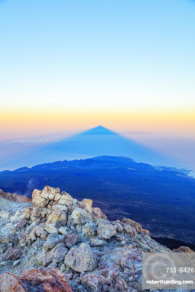 Europe, Spain, Canary Islands, Tenerife, Teide National Park, shadow of Pico del Teide (3718m) highest mountain in Spain