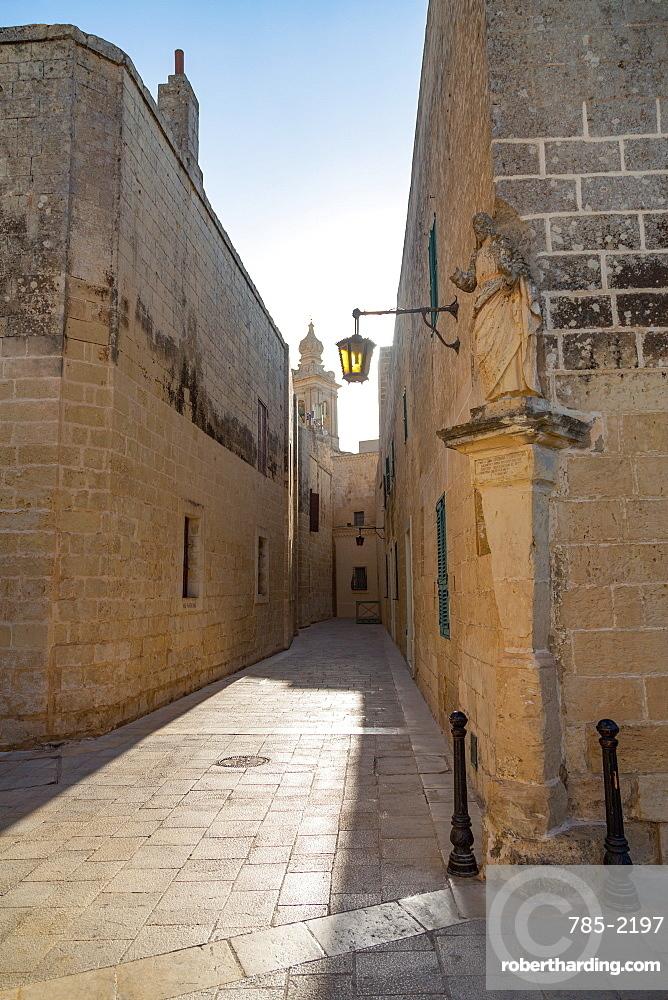 A quiet alley in the historic citadel of Mdina, Malta, Mediterranean, Europe