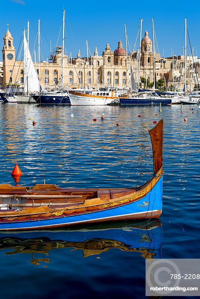 Traditional boat moored in Grand Harbour marina at Birgu, Valletta, Malta, Mediterranean, Europe