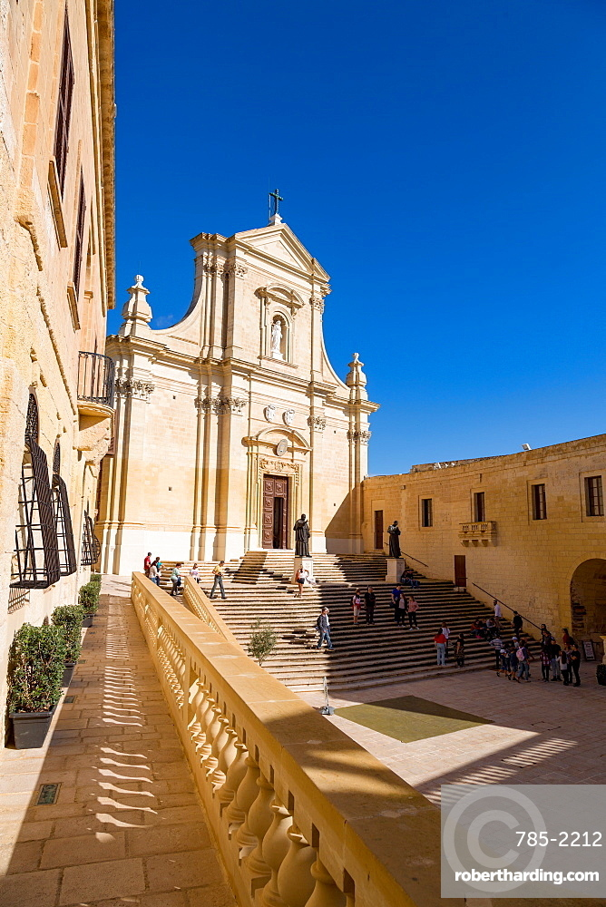 The Catedral de Rabat in the ancient citadel of Victoria (Rabat) in the heart of Gozo, Malta, Mediterranean, Europe