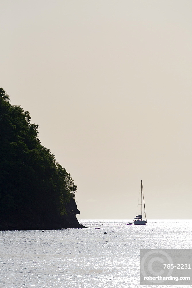 Boat moored off Marigot Bay at sunset, St. Lucia, Windward Islands, West Indies Caribbean, Central America