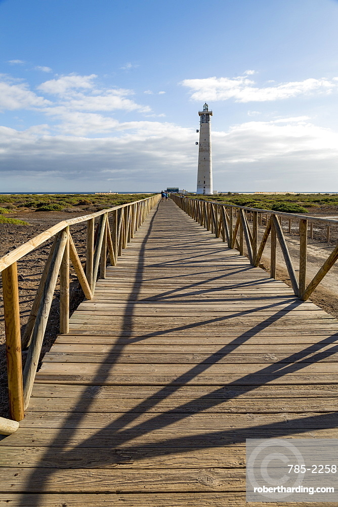 Boardwalk to Faro de Morro Jable on the volcanic Island of Fuerteventura, Canary Islands, Spain, Atlantic, Europe