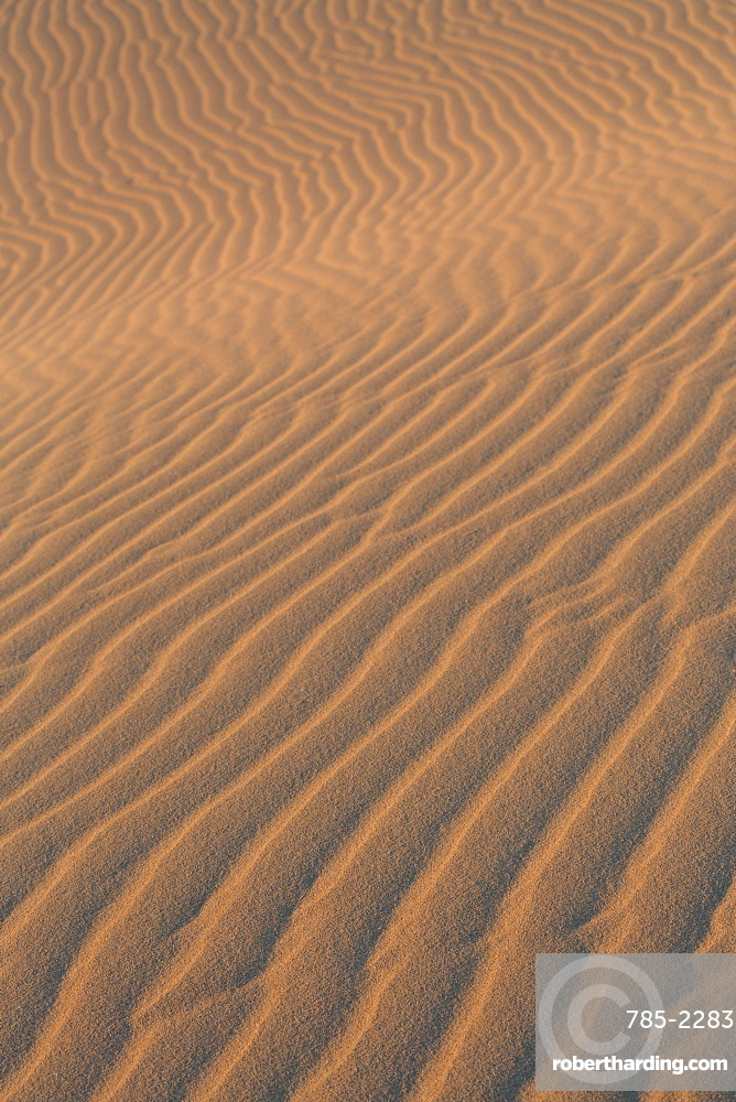 Sand textures on the dramatic Dunas de Corralejo in evening light on the volcanic Canaries island of Fuerteventura