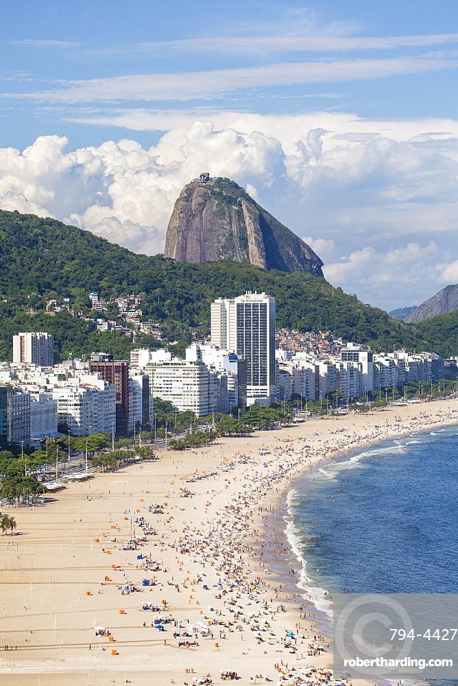 Elevated view of Copacabana beach, Rio de Janeiro, Brazil, South America