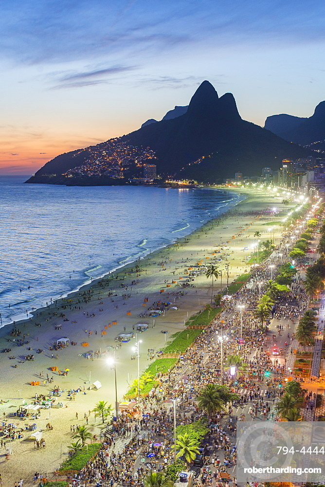 Sunset over Ipanema Beach and Dois Irmaos (Two Brothers) mountain, Rio de Janeiro, Brazil, South America