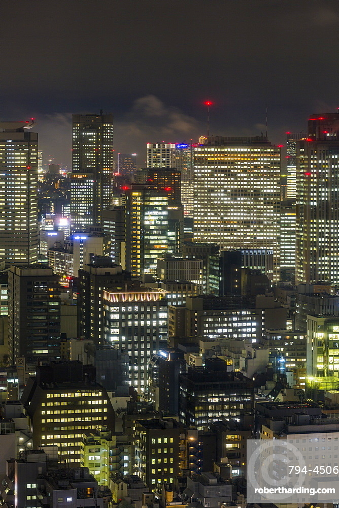 Downtown city buildings at night, Tokyo, Japan, Asia