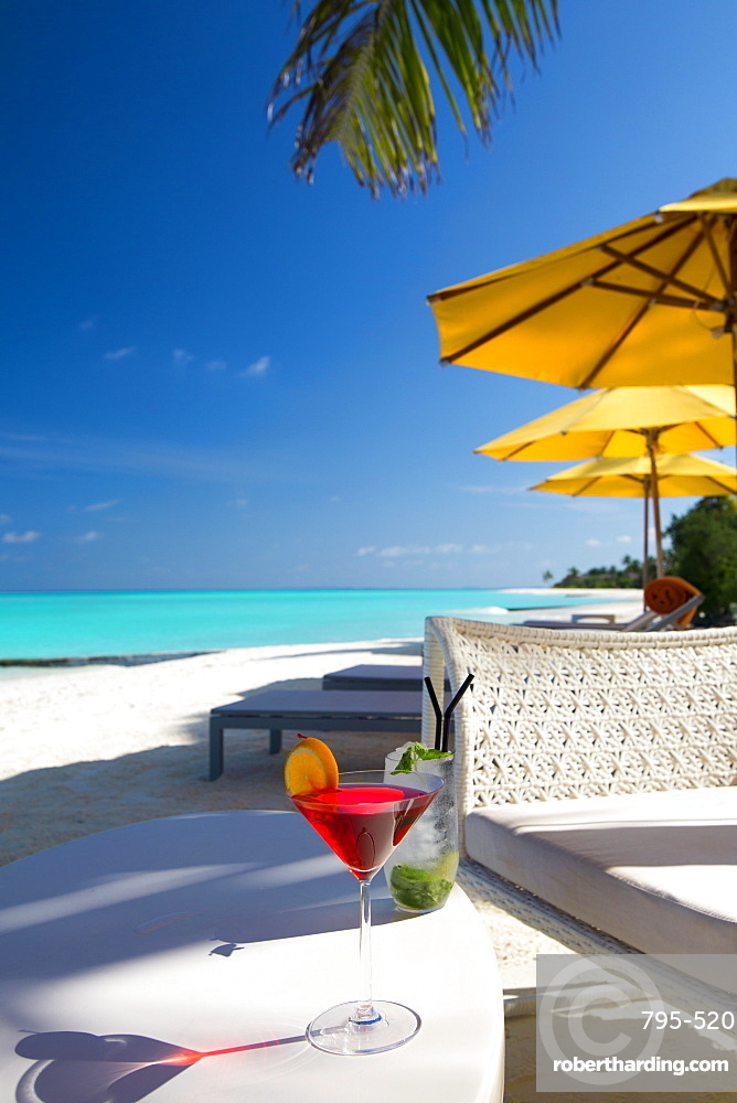 Cocktails on tropical beach, Maldives, Indian Ocean, Asia