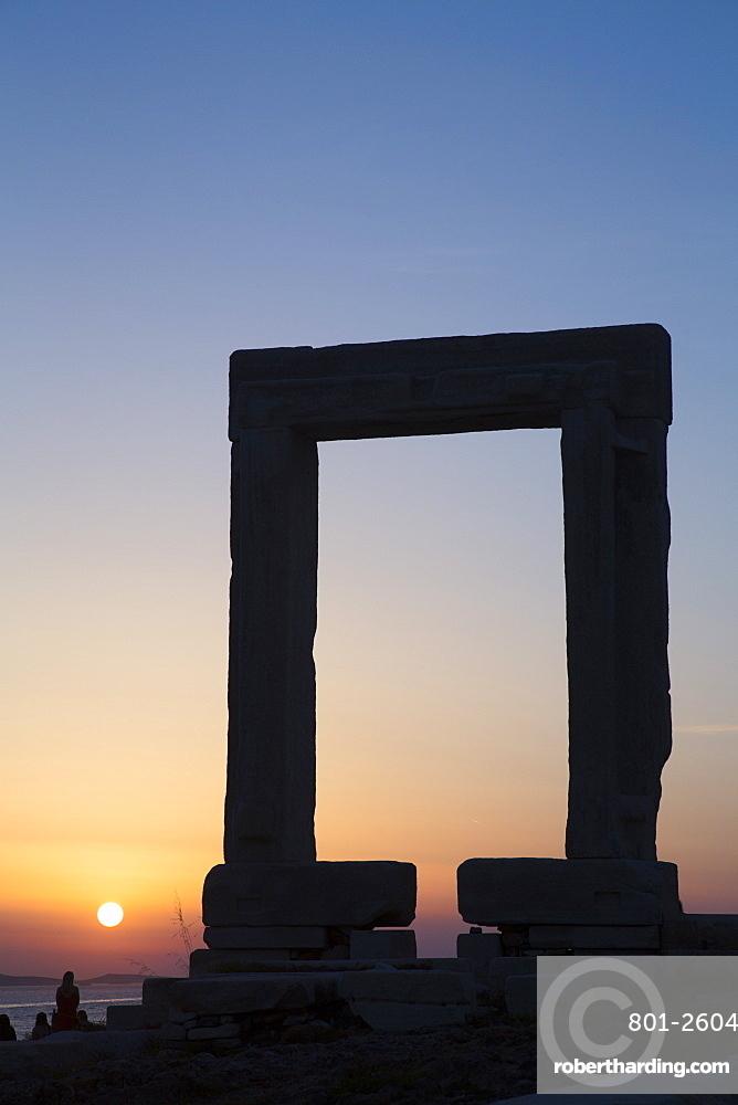 Evening, Temple of Apollo (Portara), Hora (Chora), Naxos Island, Cyclades Group, Greek Islands, Greece, Europe