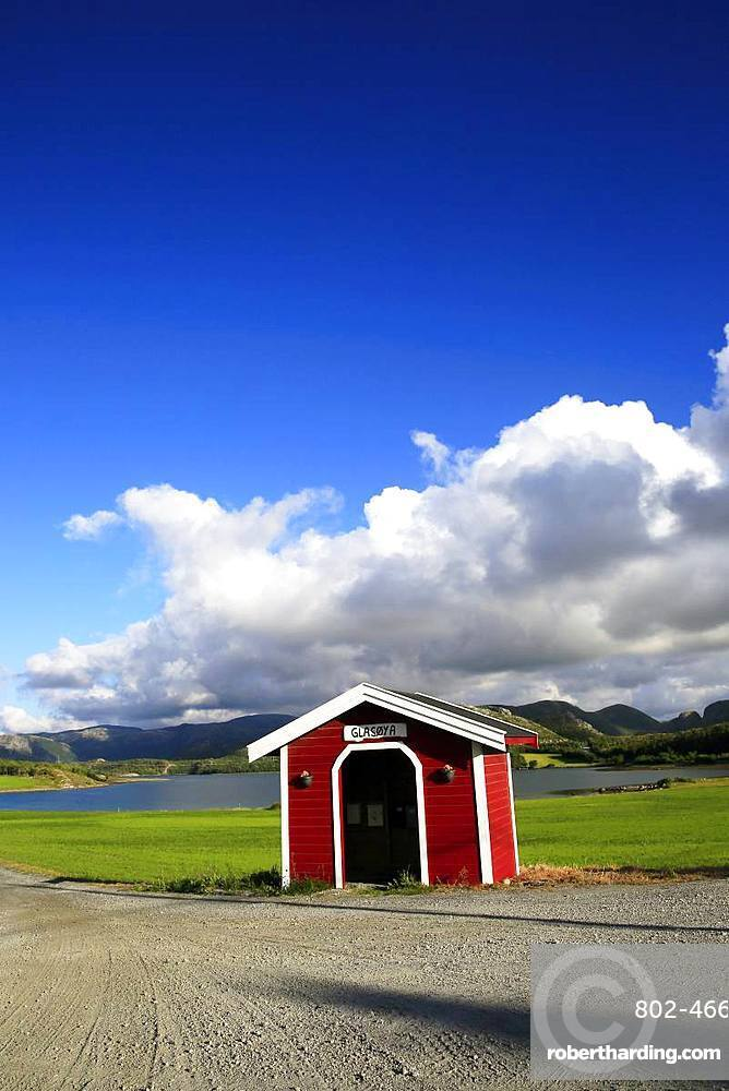 Bus shelter, Flatanger, Trondelag, Norway, Scandinavia, Europe