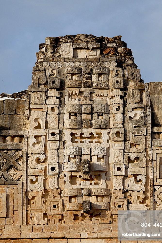 Closeup view of the Nunnery Quadrangle, Uxmal, UNESCO World Heritage Site, Yucatan, Mexico, North America