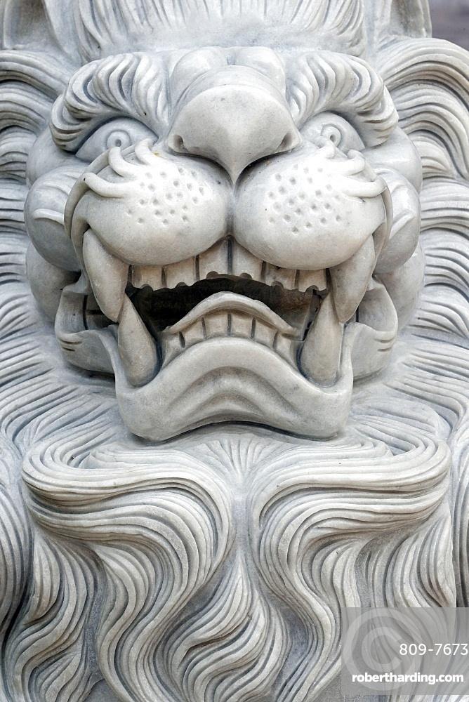 Tinh Xa Ngoc Chau Buddhist temple, Imperial guardian lion statue, Chau Doc, Vietnam, Indochina, Southeast Asia, Asia