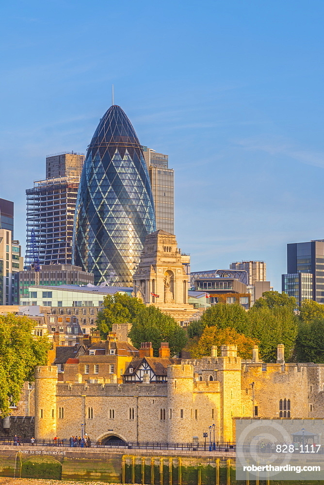 Tower of London, UNESCO World Heritage Site, and the Gherkin (30 St. Mary Axe), City of London, London, England, United Kingdom, Europe