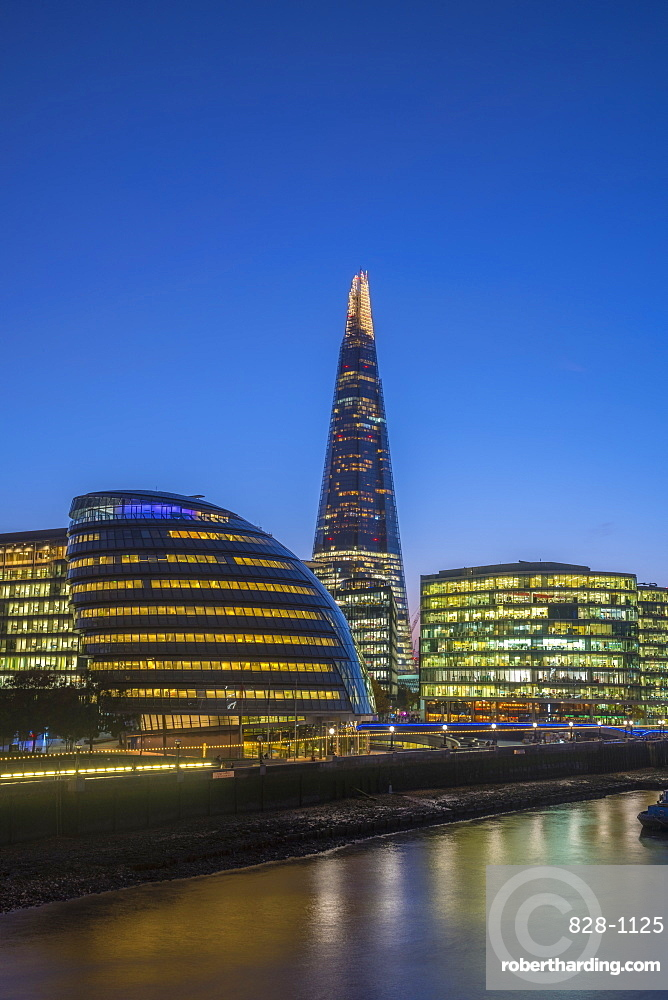 The Shard and City Hall by River Thames, Southwark, London, England, United Kingdom, Europe