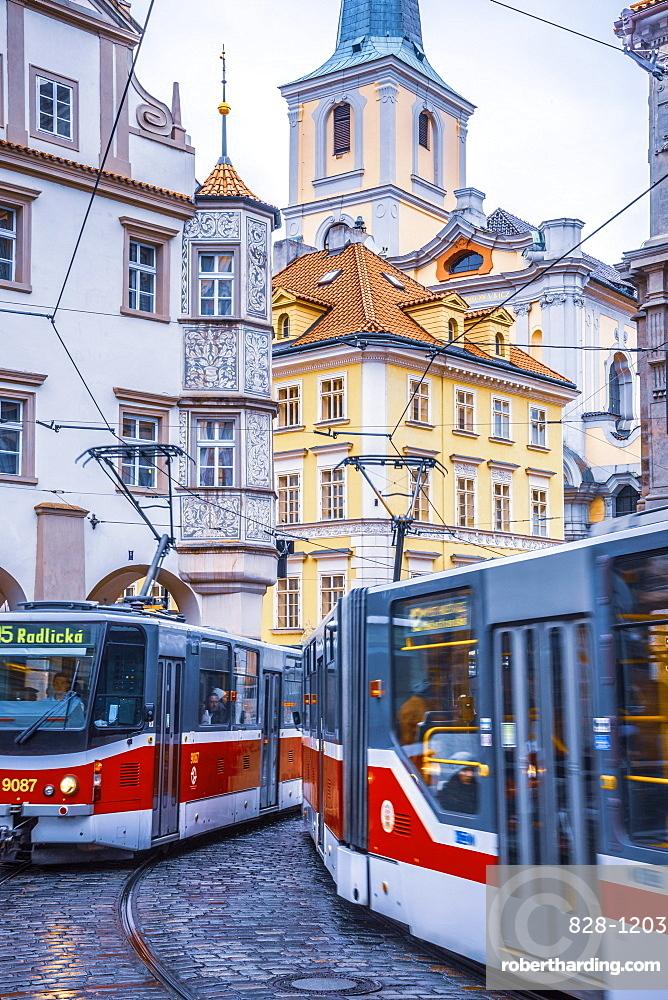 Tram, Malostranske namesti, Mala Strana, Prague, Czech Republic, Europe