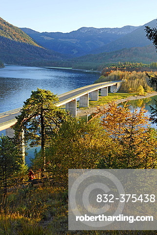 Bridge across the Sylvenstein storage lake of the river Isar Upper Bavaria Germany in front of the Karwendel mountains