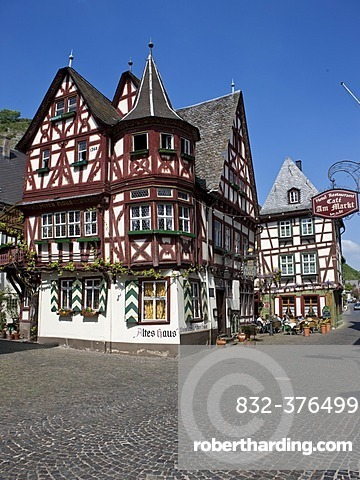 View of the old house in the old town of Bacharch, Unesco World Heritage Upper Middle Rhine Valley, Bacharach, Rhineland Palatinate, Germany, Europe