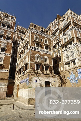 Decorated house in the old town of Sanaa, Sana´a, Yemen