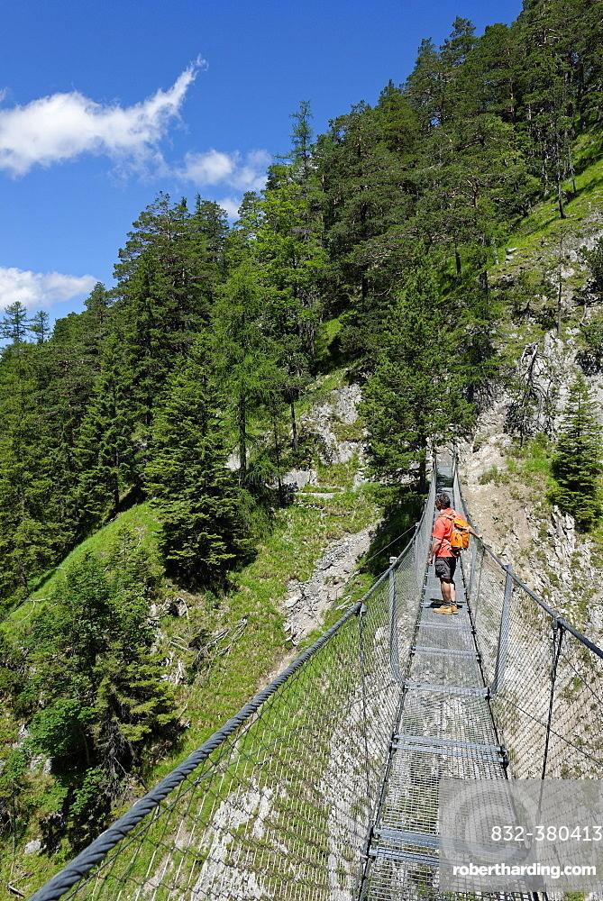 Suspension bridge over the Sulzleklamm, Karwendel Mountains, Mittenwald, Werdenfelser Land, Upper Bavaria, Bavaria, Germany, Europe