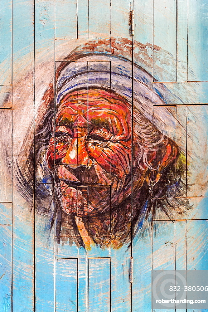 Door painting representing an old Nepalese Man, Taumadhi Tole square, Bhaktapur, Nepal, Asia