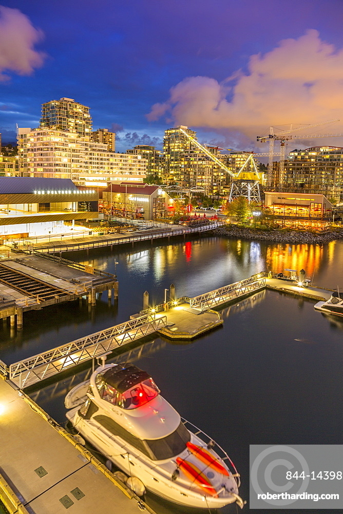 View of Lonsdale Quay in North Vancouver at dusk, Vancouver, British Columbia, Canada, North America