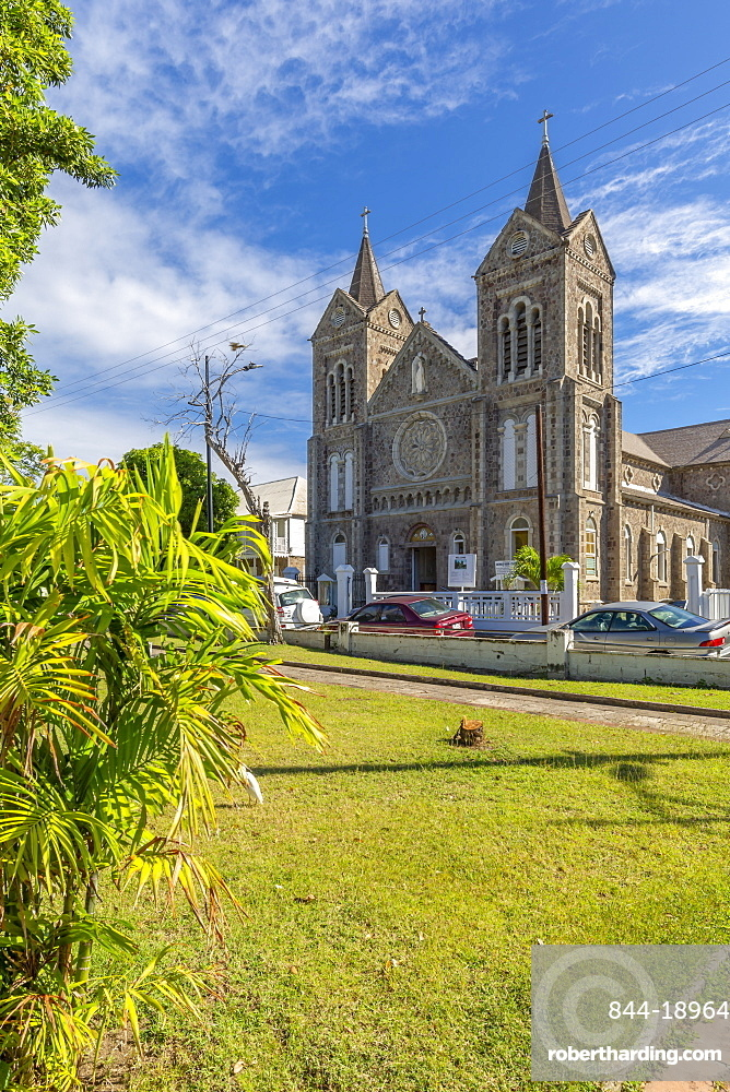 View of Independence Square and Immaculate Conception Catholic Co-Cathedral, Basseterre, St. Kitts and Nevis, West Indies, Caribbean, Central America