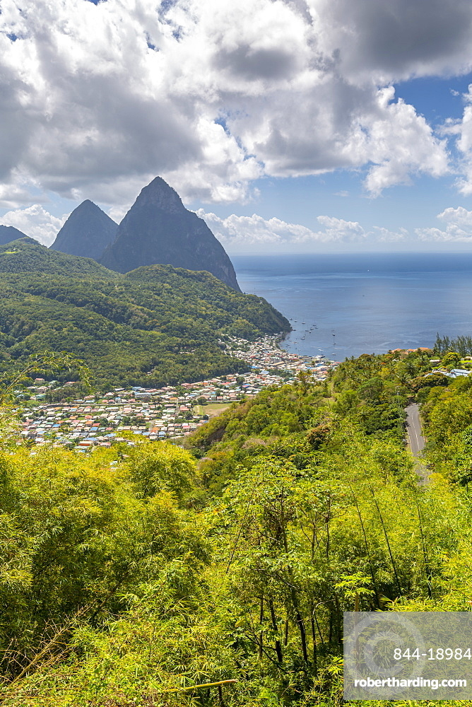View of Soufriere with the Pitons, UNESCO World Heritage Site, beyond, St. Lucia, Windward Islands, West Indies Caribbean, Central America