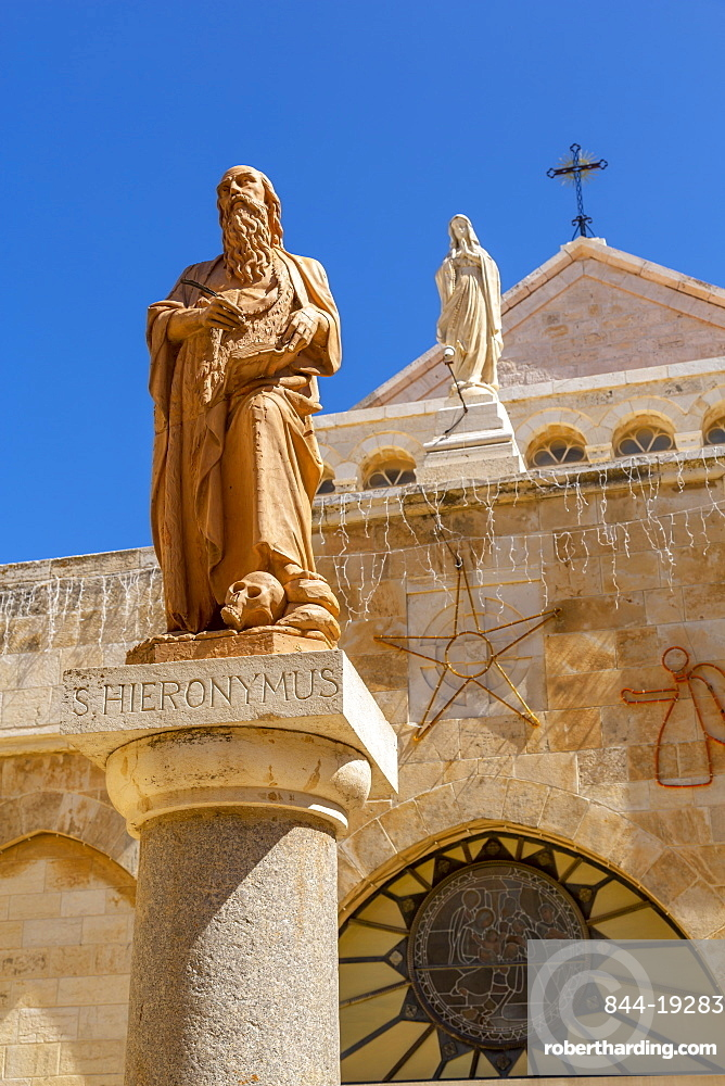 View of exterior of Church of Nativity in Manger Square, Bethlehem, Palestine, Middle East