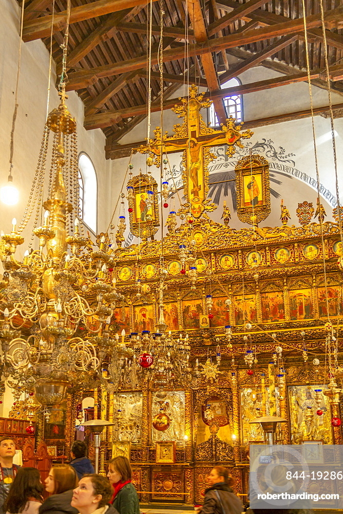 View of interior of Church of Nativity in Manger Square, Bethlehem, Palestine, Middle East