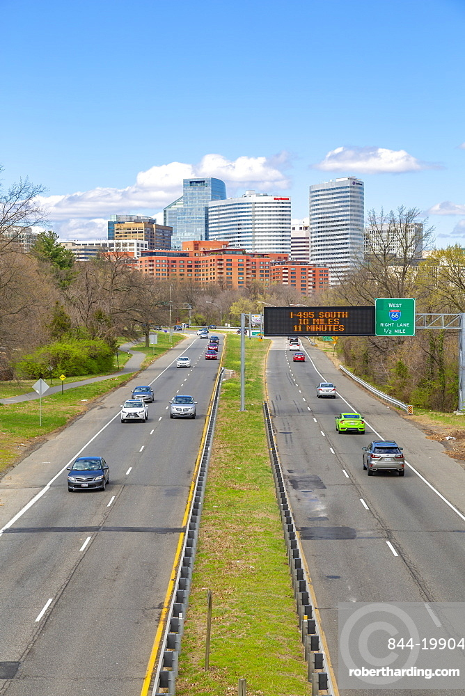 View of North Rosslyn skyline and traffic on Richmond Highway, Washington DC, District of Columbia, United States of America