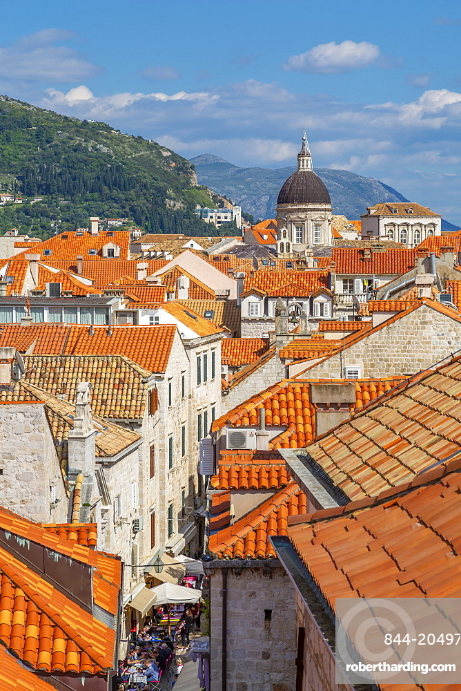 View of red rooftops and Dubrovnik Cathedral, Dubrovnik Old Town and Adriatic Sea, Dubrvnik, Dalmatia, Croatia, Europe