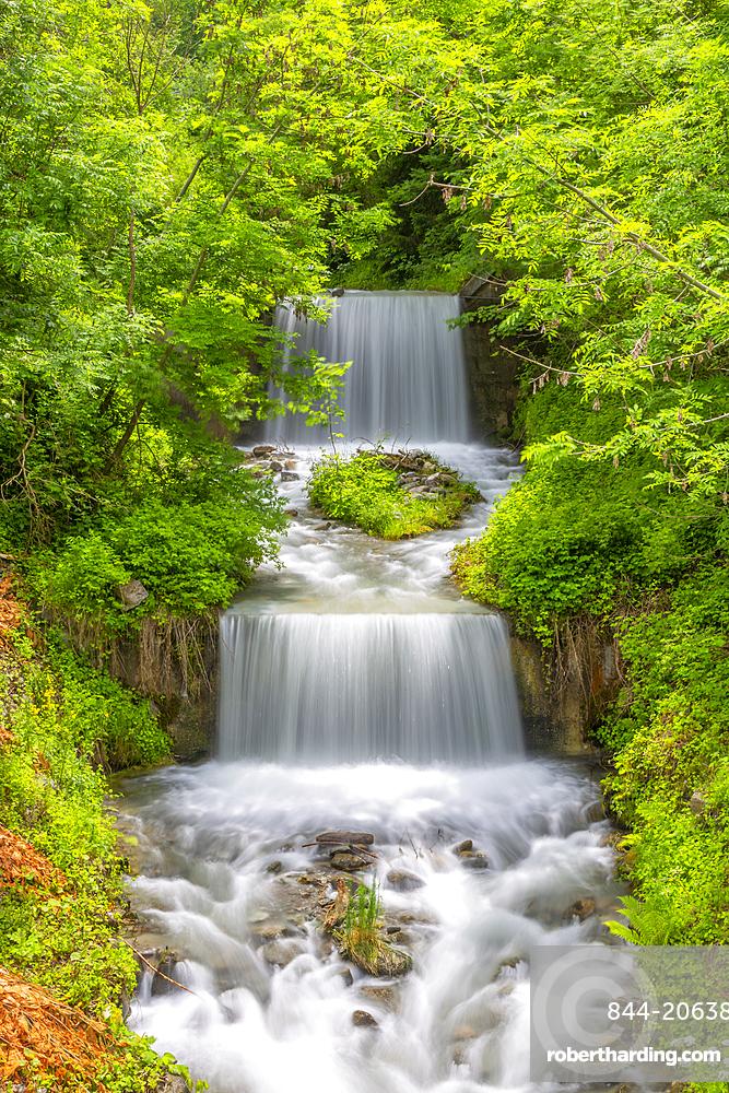 View of Lahnbach River and waterfall in Schwaz, Schwaz, Austrian Tyrol, Austria, Europe