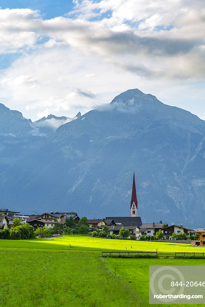 View of village Church in the Tuxertal valley, Mayrhofen, Zillertal Valley, Tyrol, Austria, Europe