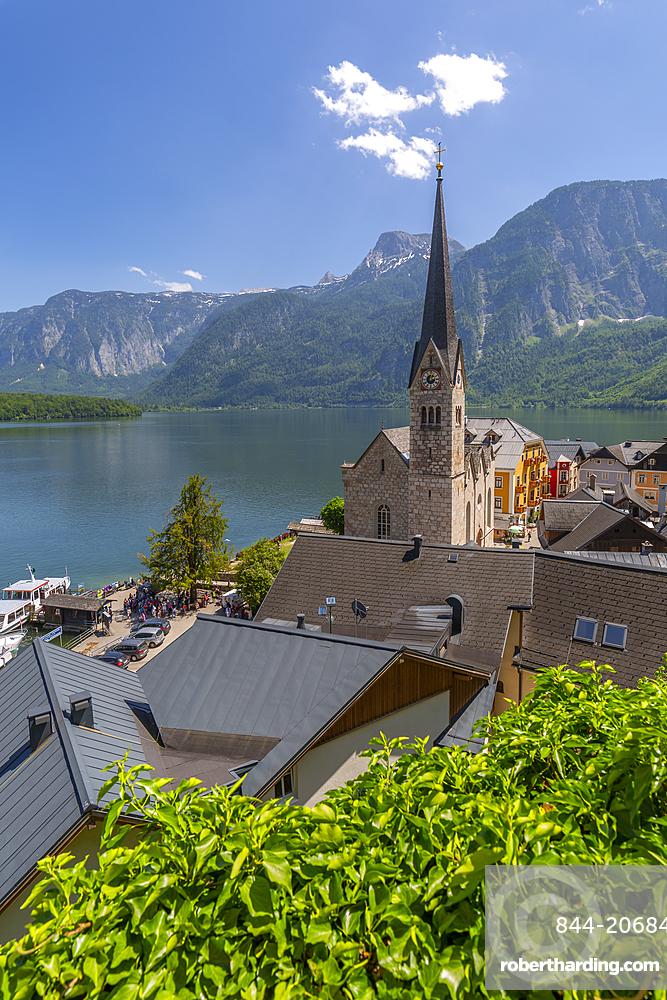 Elevated view of Hallstatt village, Salzkammergut region of the Alps, Salzburg, Austria, Europe