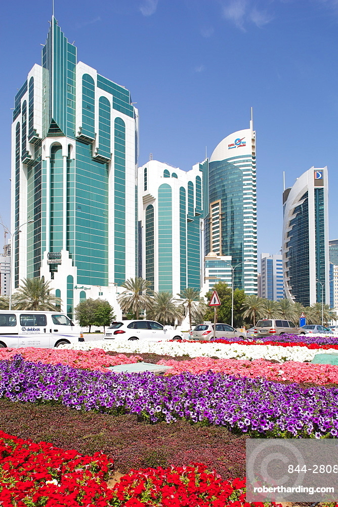 City Centre buildings and Corniche traffic, Doha, Qatar, Middle East