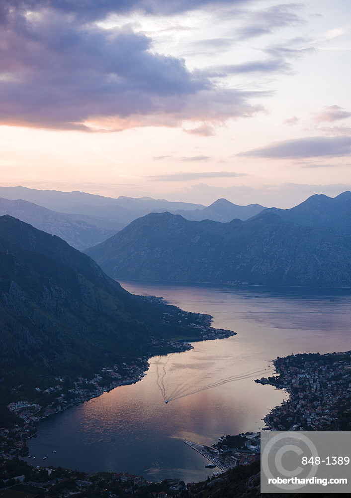 View of The Bay of Kotor at sunset, UNESCO World Heritage Site, Montenegro, Europe