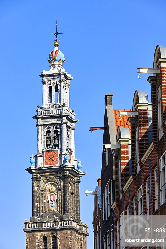 Westerkerk church and townhouse facades, Amsterdam, North Holland, The Netherlands, Europe