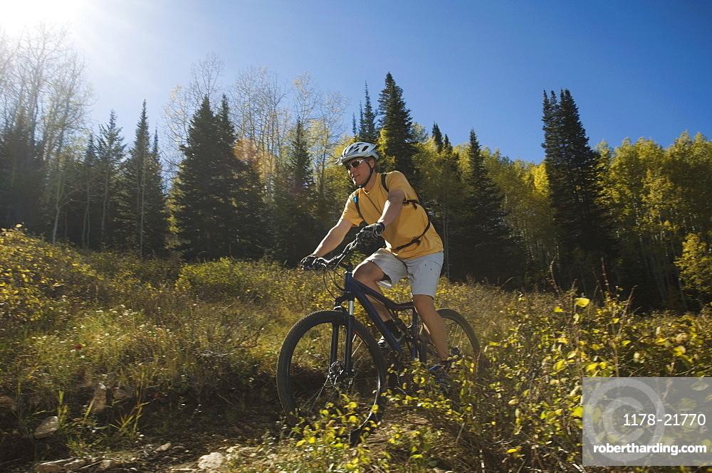 Man riding mountain bike, Utah, United States