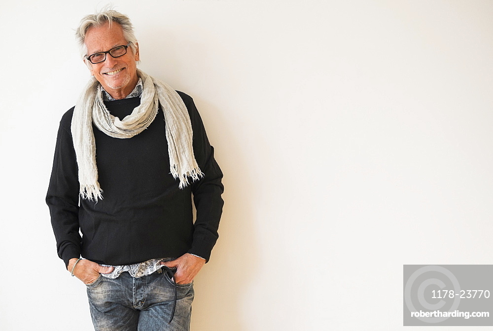 Portrait of fashionable senior man
