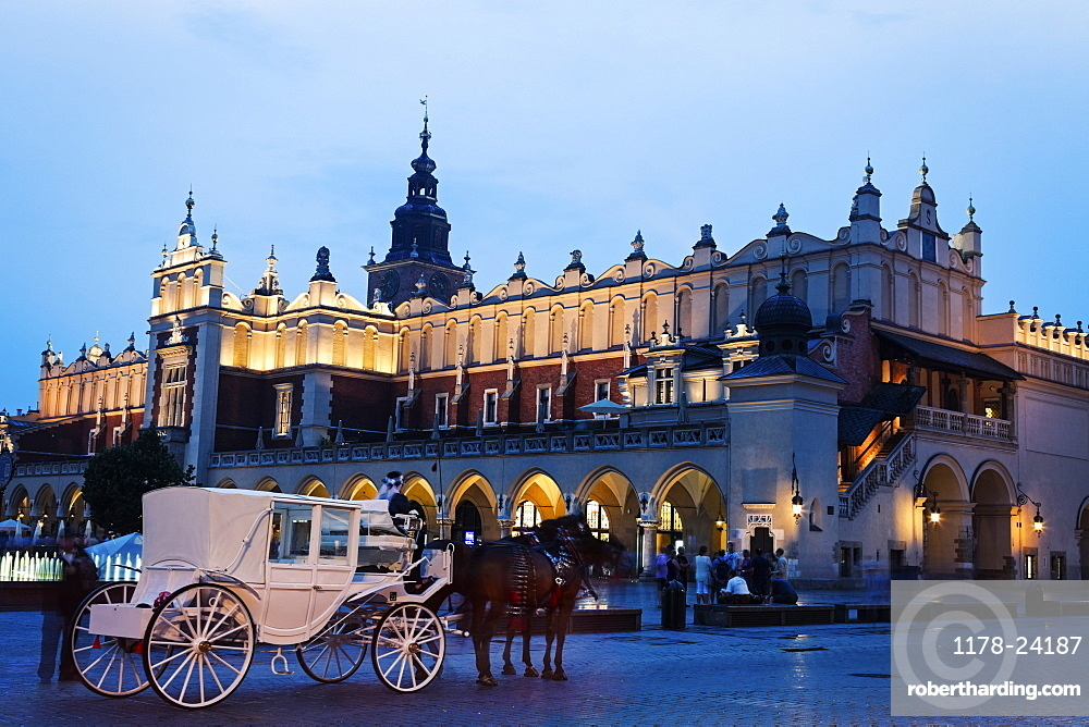 White horse carriage in front of illuminated Cloth Hall, Poland