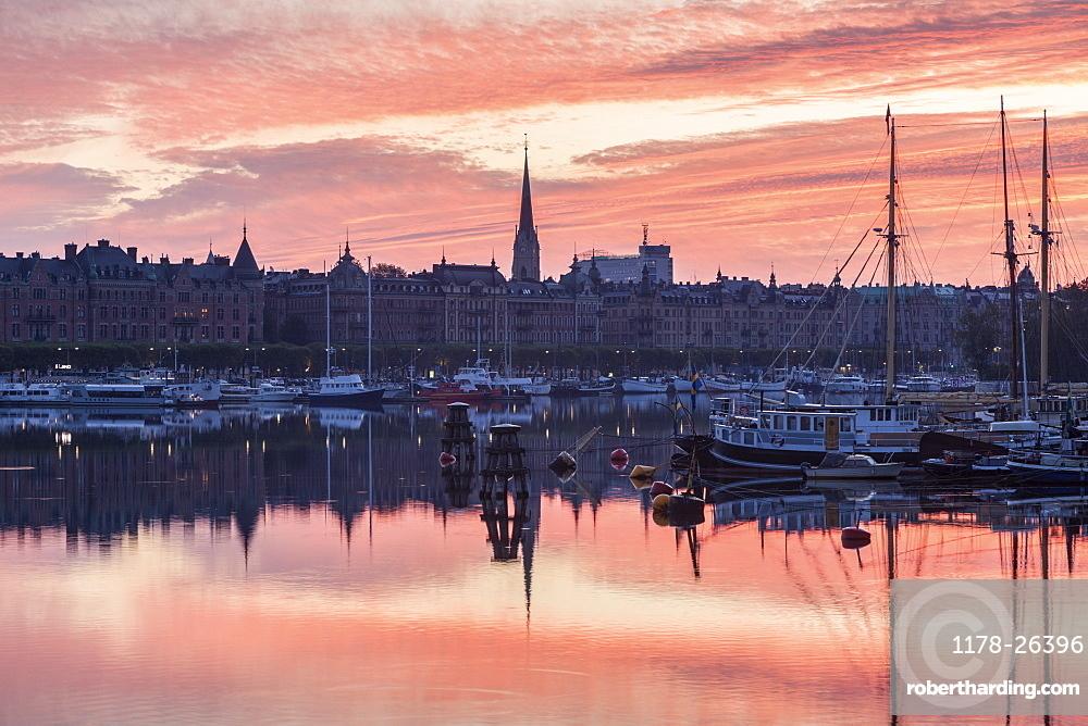 Marina at sunset in Stockholm, Sweden