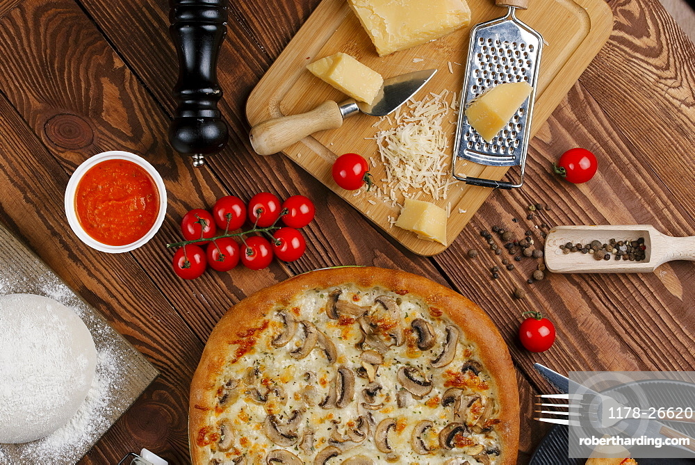 Mushroom pizza with ingredients