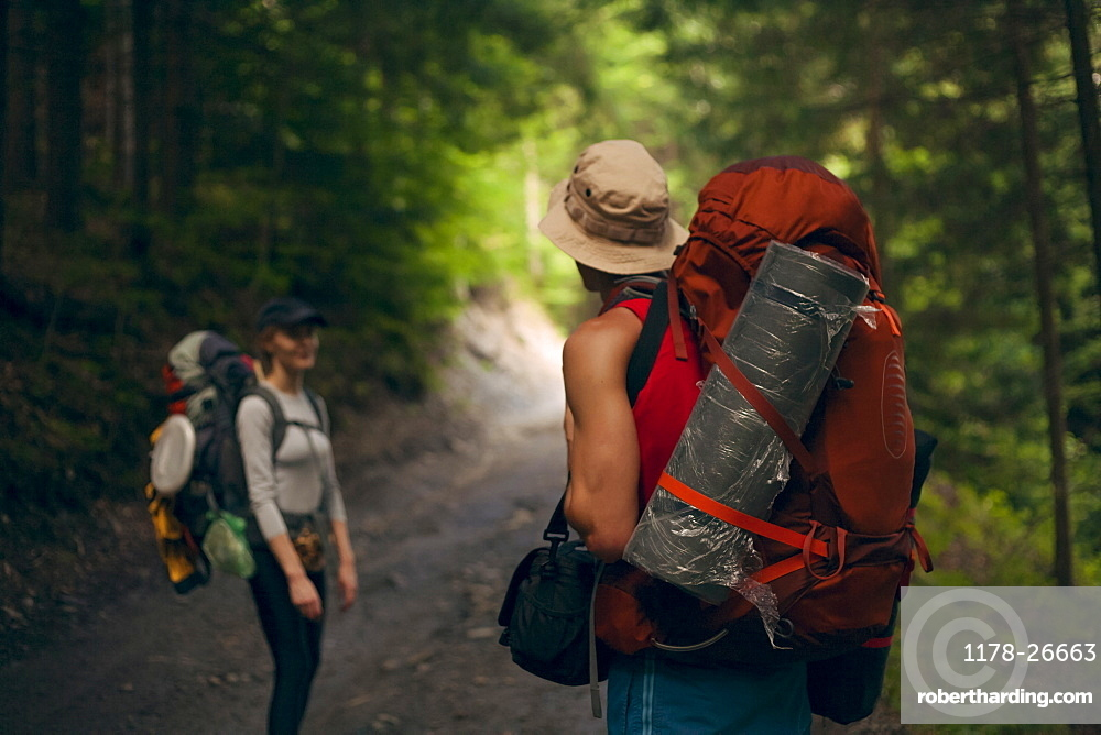 Couple hiking in forest at the Carpathian Mountain Range, Ukraine